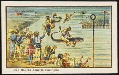 Futuristic underwater racecourse. Date: 1899
