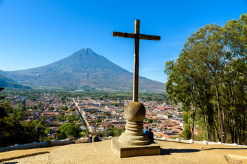 Cerro de la Cruz - Viewpoint from hill to old historic city Antigua and volcano in the mayan highlands in Guatemala