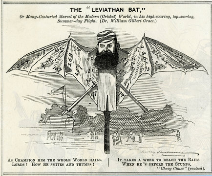 Cricket - WG Grace as a Giant Bat. Date: 1848 - 1915