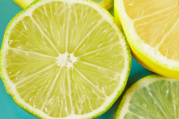 Lemon lime slices macro