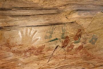 Handprint pictograph at Monarch Cave Ruin, Utah