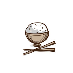 rice cup drawing graphic object food