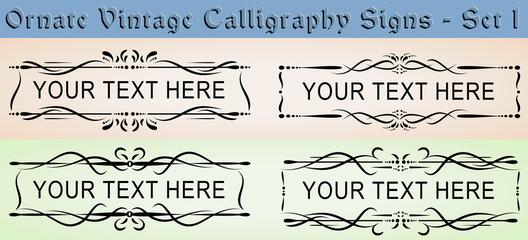 Ornate Vintage Calligraphy Signs - Set 1