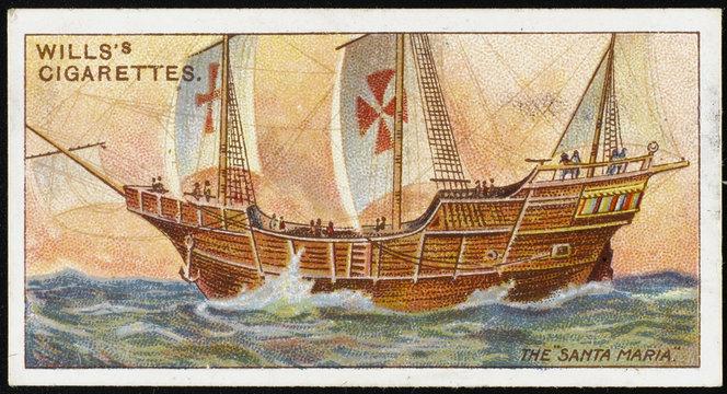 Santa Maria' (Cigarette Card). Date: 1492