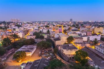 Bangalore city skyline in resident zone at night, Bangalore, India