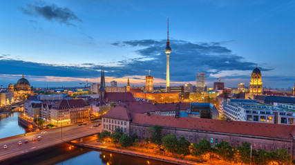 Berlin panorama city skyline when sunset at Spree River, Berlin, Germany