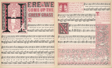 Here we come up the green grass  words and music. Date: 1886
