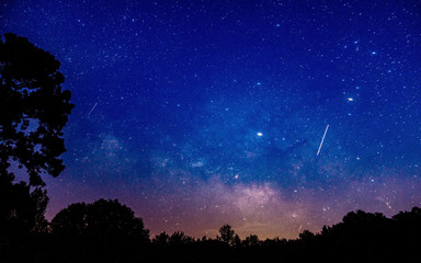 Shooting stars in an Alabama night sky