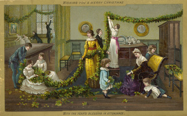 Family Decorating. Date: circa 1880