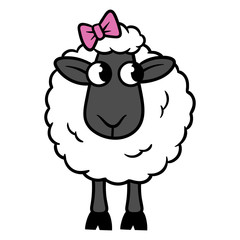 Cartoon Sheep With Bow Vector Illustration