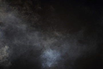 White Smoke and Fog on Black Background, Abstract Smoke Clouds