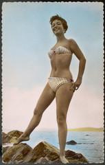 Striped Bikini 1950s. Date: 1950s