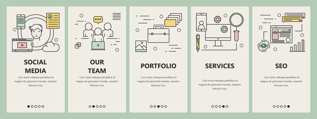 Vector thin line flat design social media concept vertical banners