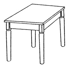 Line Drawing of Table -Simple line Vector