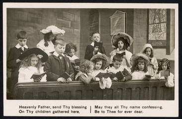 Children Sing in Church. Date: circa 1900