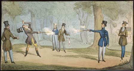 Duel with Pistols. Date: circa 1820