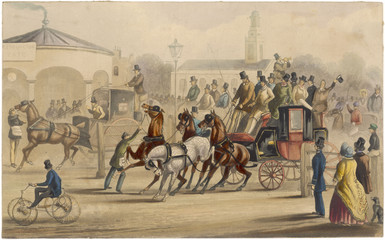Stagecoach - Kennington Turnpike. Date: circa 1830