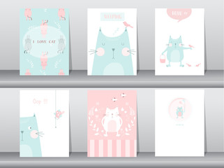 Set of cute animals poster,template,cards,cats,Vector illustrations