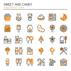Sweet and Candy , Thin Line and Pixel Perfect Icons.