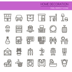 Home Decoration , Thin Line and Pixel Perfect Icons.