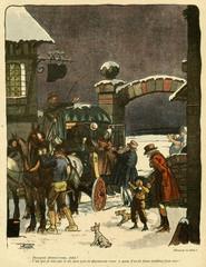 Cartoon  19th century coach at an inn. Date: early 19th century