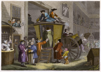 Inn Yard - Hogarth. Date: 1747