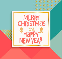 Happy New Year and Merry Christmas modern card.
