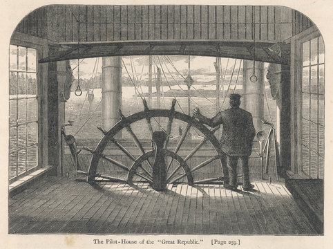 Steamboat Wheelhouse. Date: 1874