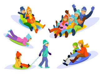 Family, couple,  man , woman, children, girl, boy sledding  snow downhill set. Winter Fun activities.