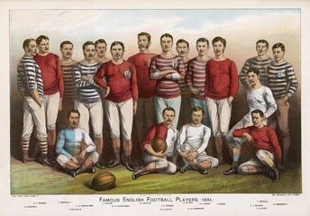 English football players in team picture. Date: 1881