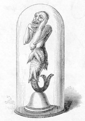 Mermaid Exhibit  London. Date: circa 1875