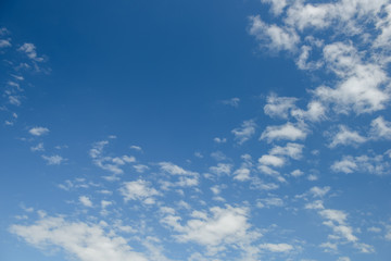 Blue sky with clouds. Looking up view