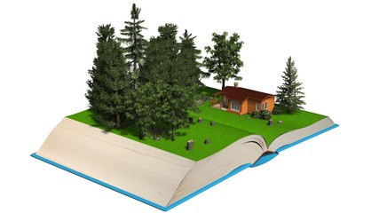 open book with Cute countryside log house in a wonderful forest on the pages