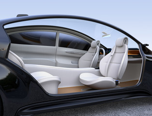 Autonomous car interior concept. Front seats turned around and passengers can relaxing or working when they driving.  3D rendering image.