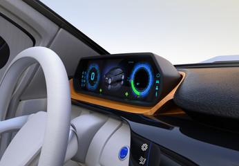 Electric car's dashboard concept. Digital speedometer on wooden tray. 3D rendering image. Original design.