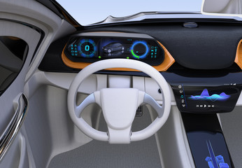 Electric car's dashboard concept. Digital speedometer on wooden tray. 3D rendering image. Original design.