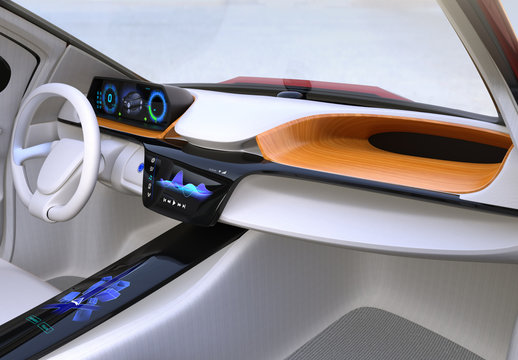 Autonomous car interior concept. The center touch screen display music playlist, and navigation map on driver side screen. 3D rendering image.
