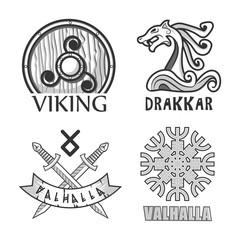 Viking, drakkar and valhalla monochrome isolated logotypes set