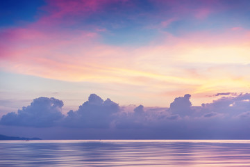 Sunset on the shore of the tropical sea, long exposure and retro toning Wall mural