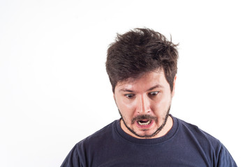 30 years old man with Fear or Shock on face and looking down