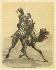 An Arab on his camel. Date: 1853