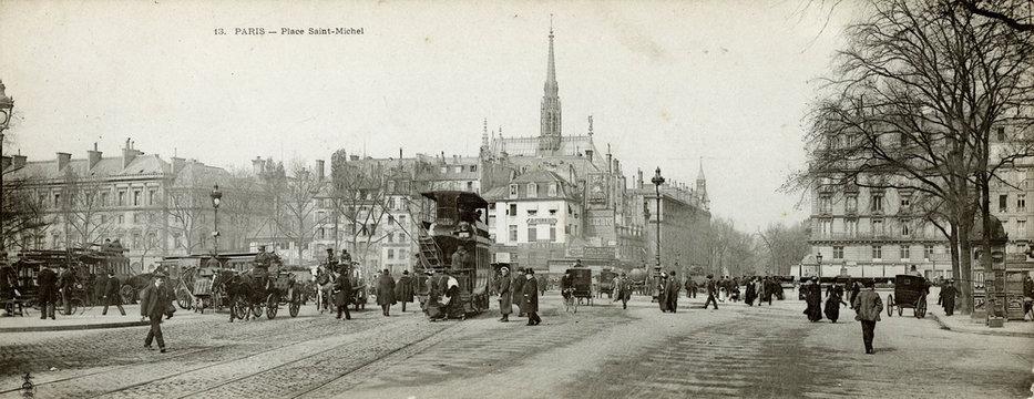 Paris - Place St Michel. Date: 1905