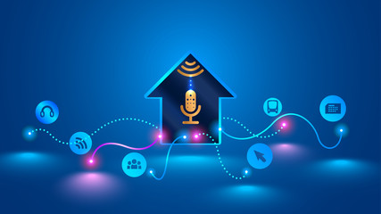 smart home recognizes voice commands and manages smart devices. Voice control of your smart home. Smart speaker controls the Internet of things in your house. Future concept, VECTOR