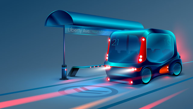 Autonomous electric smart bus or minibus stops at city bus stop. VECTOR
