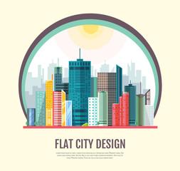 Flat style modern design of urban city landscape. Vector icon set