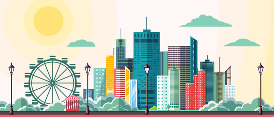 Flat style modern design of urban city landscape. Vector icon set