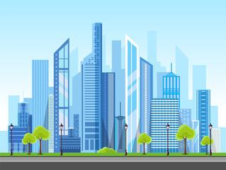 Flat style modern design of urban city landscape.