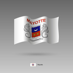 Mayotte flag. Official colors and proportion correctly. High detailed vector illustration. 3d and isometry. EPS10