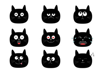 Cute black cat set. Funny cartoon characters. Emotion collection. Happy, surprised, crying, sad, angry, smiling. White background. Isolated. Flat design