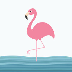 Pink flamingo standing on one leg. Water sea wave. Exotic tropical bird. Zoo animal collection. Cute cartoon character. Decoration element. Flat design. White blue background.